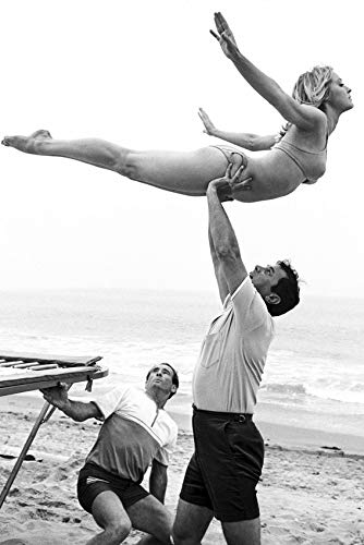 Dont Make Waves Sharon Tate on Beach in Bikini Being held up by Man 24x18 Poster