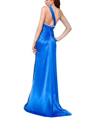 Perlen bodenlangen BRIDE einer Blau mit Applikationen Abendkleid GEORGE Mantel Schulter Spalte F8XqP6x