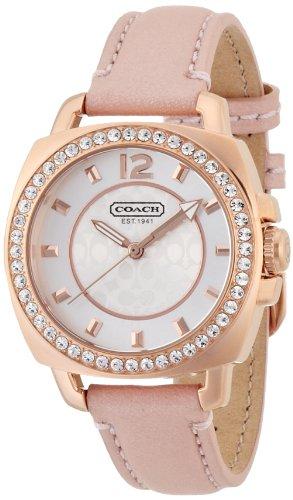 COACH 14501753 MINI BOYFRIEND PINK LEATHER ROSE GOLD CASE WOMEN'S WATCH