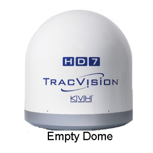 24 Base Dome - KVH KVH-01-0290-02SL / TracVision HD7 Empty Dome/Baseplate Complete Assembly, MFG# 01-0290-02SL, grey base with white dome, 24