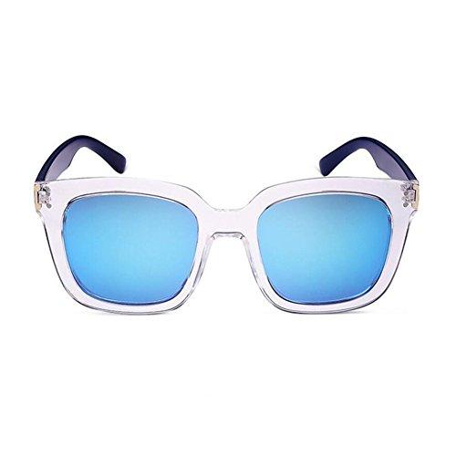 HONEY Sonnenbrille Für Herren Und Damen - Quadratischer Transparenter Rahmen - Reflektierend Objektiv ( Farbe : Grey lenses ) KjmMUDXXNz