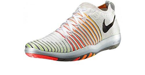Womens Nike Free Transform Flyknit Shoe White/Black/Laser Orange/Total Orange