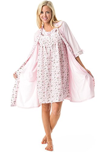 Nightgown Sets Robe - Casual Nights Women's Sleepwear 2 Piece Nightgown and Robe Set - Pink - X-Large
