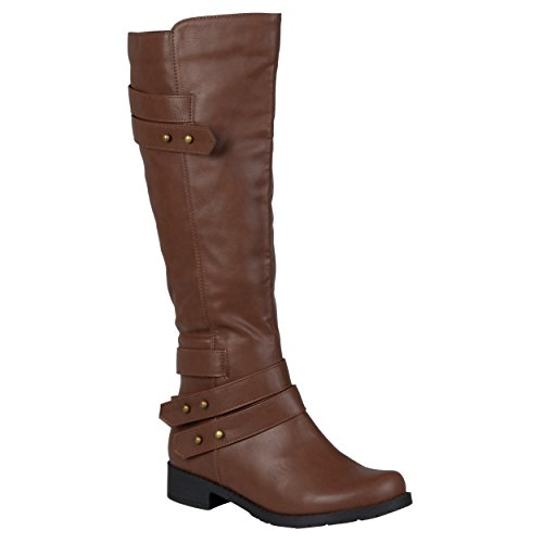 Brinley Co. Womens Regular and Wide-Calf Ankle-Strap Knee-High Button Detail Riding Boot