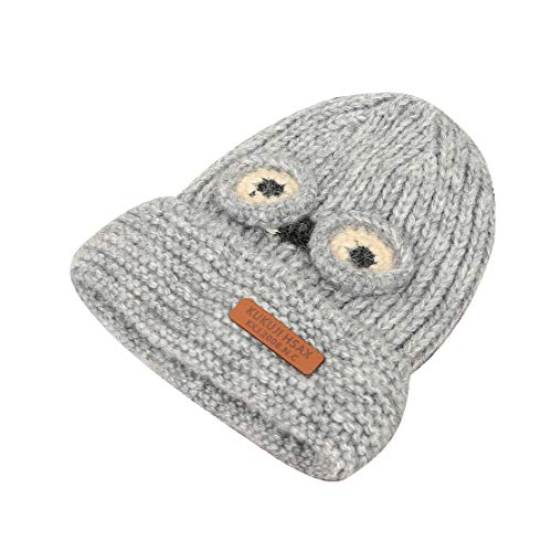 ACVIP Little Kids' Big Eyes Knit Cold Weather Cotton Lining Skull Cap (Grey) by ACVIP (Image #1)