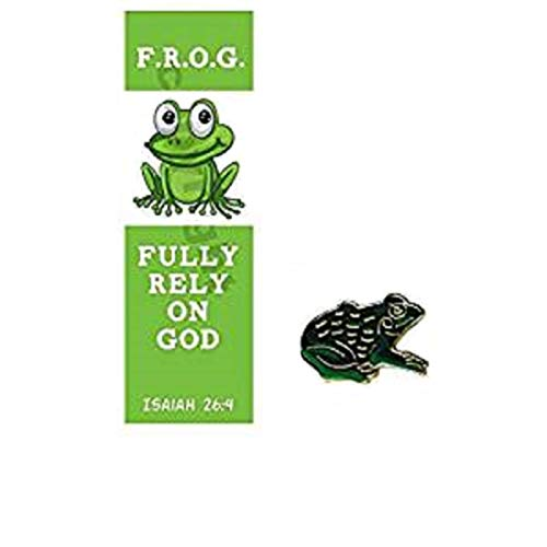 (Fully Rely On God F.R.O.G. Bookmark with Frog Lapel Pin Gift Sets, 10 Count)