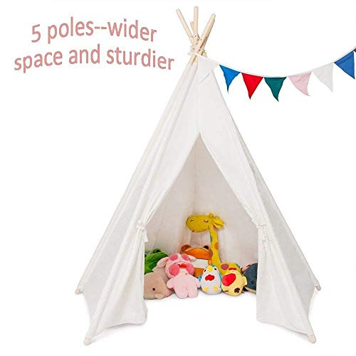 JOYMOR Upgraded Foldable 100% Cotton Canvas 6' Indoor Teepee Tent Indian Playhouse For Kids Play With Banner,Carry Bag,Window,Pocket (White With 5 Poles)