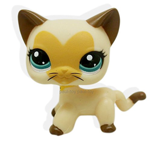 LHJ Rare Littlest Pet Shop Cream Tan Brown Short Hair Cat Heart Face Kitty LPS #3573 (Littlest Pet Shop Brown Cat)
