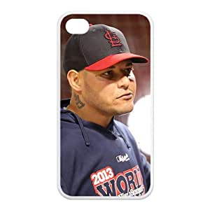 Professional MLB Player-Yadier Molina of St. Louis Cardinals Image Design for TPU Apple Iphone 4/4s Case (white)