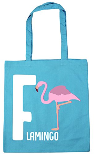 HippoWarehouse F for flamingo alphabet animal Tote Shopping Gym Beach Bag 42cm x38cm, 10 litres Surf Blue