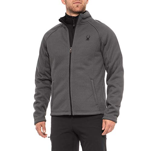 Spyder Men's Stellar Jacket Sherpa Lined Bonded Fleece (Polar Grey, -
