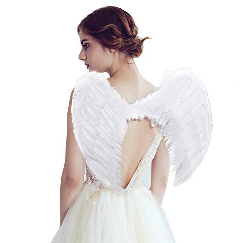 SEVADA Angel Wings Costume, Halloween Angel Costume, White Feather Wing, Cosplay Accessories Christmas Wings for Adult Women Kids Girls