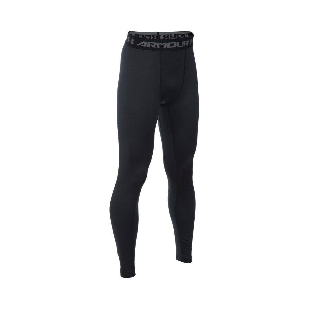 Under Armour Boys' ColdGear Armour Leggings, Black/Reflective, Youth Large by Under Armour