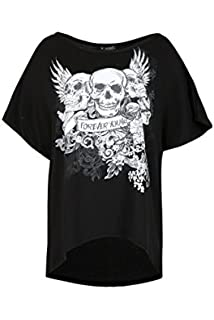 4b81a88a374 Womens Floral Crown Skull Baggy Young Forever Oversized Batwing Sequin T  Shirt Top