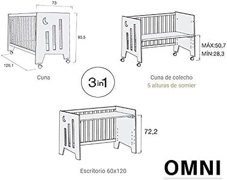 ALONDRA - Cuna bebé de COLECHO (3en1) OMNI Rosa 120x60 convertible en 3 etapas: cuna, colecho y escritorio, con 5 alturas de somier y ruedas ...