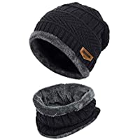 Wersoa™ Premium Quality 2 Pieces Winter Beanie Cap Neck Scarf Set Warm Knitted Fur Lined For Men & Women (Black)