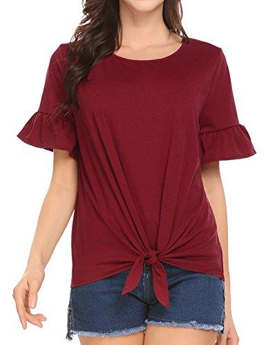 Venena Women's Summer Round Neck Short Sleeve Knot Front Tee Shirts Tunic Tops,Large,Wine (Ruffle Detail Blouse)