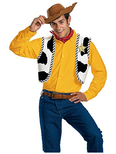 Disguise Men's Disney Pixar Toy Story and Beyond Woody Adult Costume Kit, Yellow/Black/White/Brown, One -