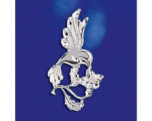 Sterling Silver Hummingbird Flower Pendant Italian Charm Bird Solid 925 Italy Jewelry Making Supply Pendant Bracelet DIY Crafting by Wholesale Charms - Hummingbird Italian Charm