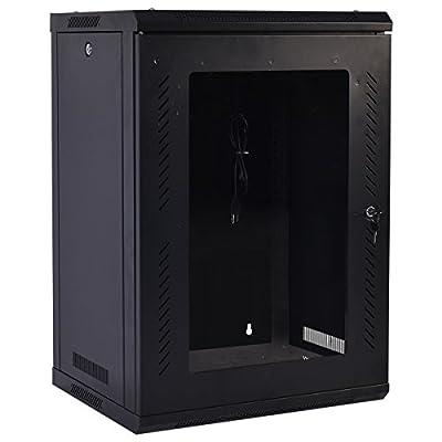 Goplus 18U Wall Mount Network Server Data Cabinet Enclosure Rack Glass Door Lock w/ Fan