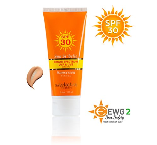 Sun Si'Belle Moisturizing Mineral Sunscreen SPF 30, Tinted with Antioxidants and Organic Ingredients, 3.3 Ounce, Exp May 2020