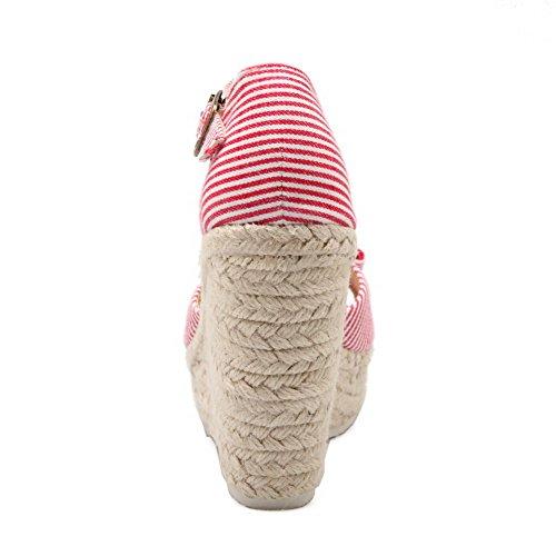 AgooLar Mujeres con Pajarita Puntera Abierta Plataforma Hebilla Colores Surtidos Sandalia Rojo