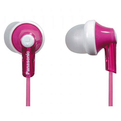 Panasonic ErgoFit In-Ear Earbud Headphones RP-HJE120-P (Pink) Dynamic Crystal Clear Sound, Ergonomic Comfort-Fit