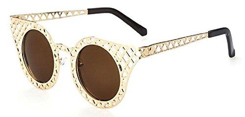 Lunettes soleil style de cadre vintage de chat Or Femmes rétro oeil qqf56nCw
