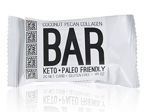 Space Shake Keto, Paleo-Friendly, Coconut Pecan Collagen Protein Bar, 0.88 Ounce, Pack of 24