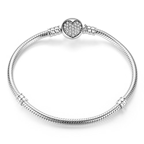 BAMOER New Arrival 925 Sterling Silver Dazzling Heart Clasp Bracelet for Bridals Best Wedding (925 Silver New Bracelet)