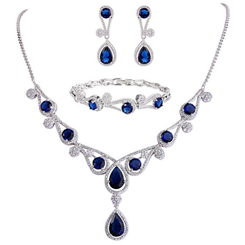 EVER FAITH Women's CZ Lots Hollow-Out Teardrop Necklace Earrings Bracelet Set Blue Silver-Tone
