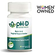 pH-D Feminine Health, First Woman Owned Boric Acid Vaginal Suppositories, Made in USA, Bottle of 24 (600mg)
