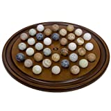 Wooden Handmade Solitaire game Set With Marbles & Mahogany finish