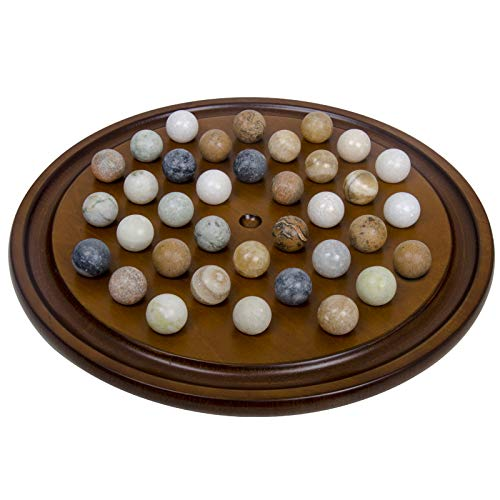 Arolly Wooden Handmade Solitaire Game Set Marbles & Mahogany Finish (Marble Game Board)