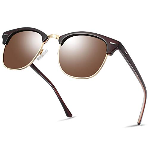 Semi Rimless Polarized Sunglasses for Women Men, Unisex Sunglasses with Half Frame - Brown