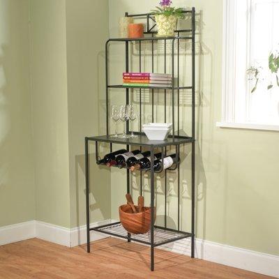 Classic Baker's Rack, 4 Shelves, Black Finish, Removable Wine Rack, Up to 5 Wine Bottles, Durable Metal/Wood Construction, Black Finish, Kitchen Storage Furniture