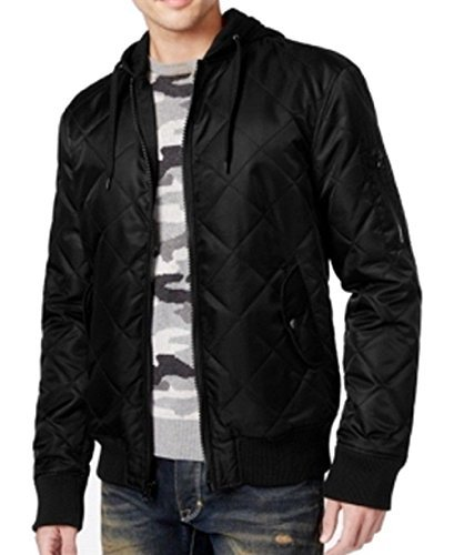 American Rag Mens Small Quilted Hooded Bomber Jacket Black S