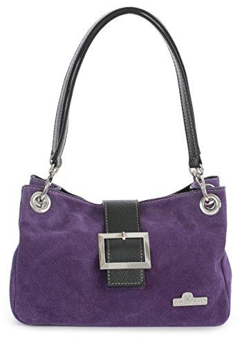 Bag Italian Real Trim Purple Medium Faux Cotton Leather Suede with Lining LIATALIA PIXIE Black Small Trim d5XwZROq