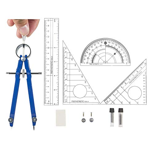 Muhuyi Drafting Compass Set, Professional Compass with Lock, Set Squares, Ruler, Protractor, Eraser, Extra Lead Refills and Reusable Carry Bag -