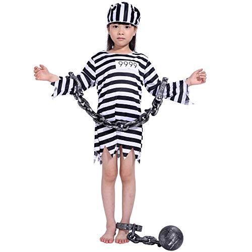 LOLANTA Child Prisoner Convict Halloween Costumes Black White Stripe Kids Fancy Dress (4-5, Girls)