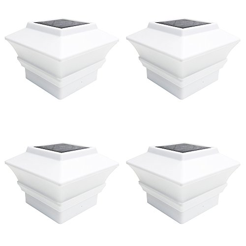 iGlow 4 Pack White Outdoor Garden 4 x 4 Solar LED Post Deck Cap Square Fence Light Landscape Lamp Lawn PVC Vinyl Plastic ()