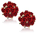 YouBella Fashion Jewellery Summer Special Stylish Rose Shape Fancy Party Wear Earrings for Girls and Women (Red)