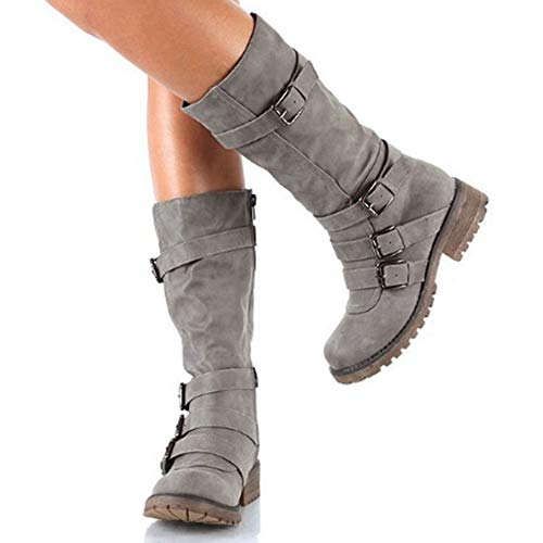 T-JULY Women Leather Suede Wedge Mid Calf Spring Sexy Round Toe Thigh High Winter Buckle Boots ()