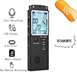 RISWOJOR 16G Voice Activated Recorder Device,Mini Recorder Portable Dictaphone 1536Kbps, Landline Call Recorder,Digital Audio Recorder for Meeting,Lectures,USB Charge