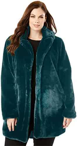 9a0e3f2431 Roamans Women s Plus Size Notch Faux-Fur Coat