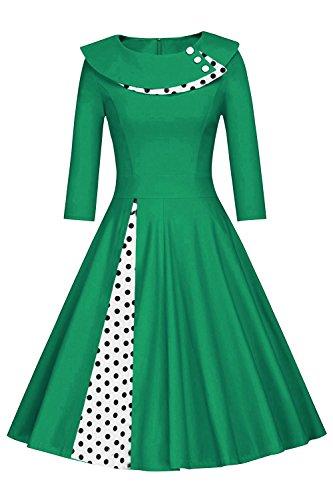 Robe de Soire Cocktail Pin-up Vintage Ajoure anne 50 avec 1/2 Manches  Pois par Babyonlinedress Vert