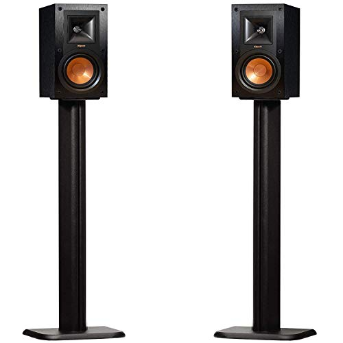 ECHOGEAR Bookshelf Speaker Stand Pair - Heavy Duty MDF Energy-Absorbing Design - Works with Klipsch, Polk, JBL & Other Bookshelf Speakers - Includes Cable Management Channel & Carpet Spikes