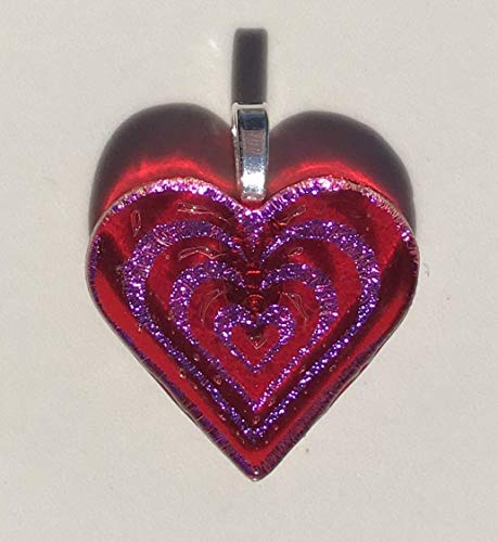 Large Red and Pink Heart Laser Engraved Etched Dichroic Fused Glass ()