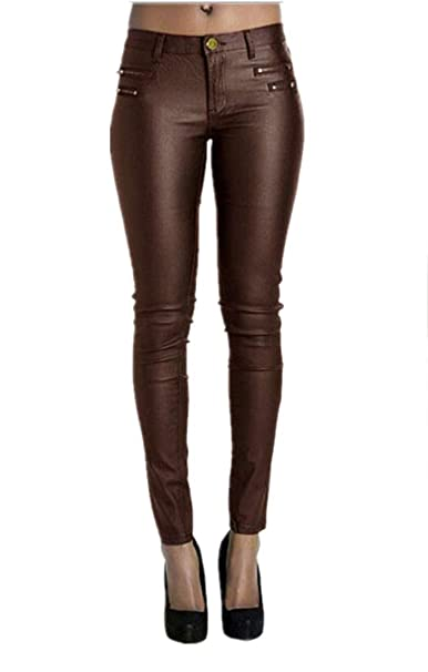 Bet&Fit Womens Faux Leather Legging Pants Low Rise Sexy Skinny Pants by Bet&Fit