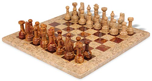 (Classic Coral Stone & Red Marble Chess Set - 3